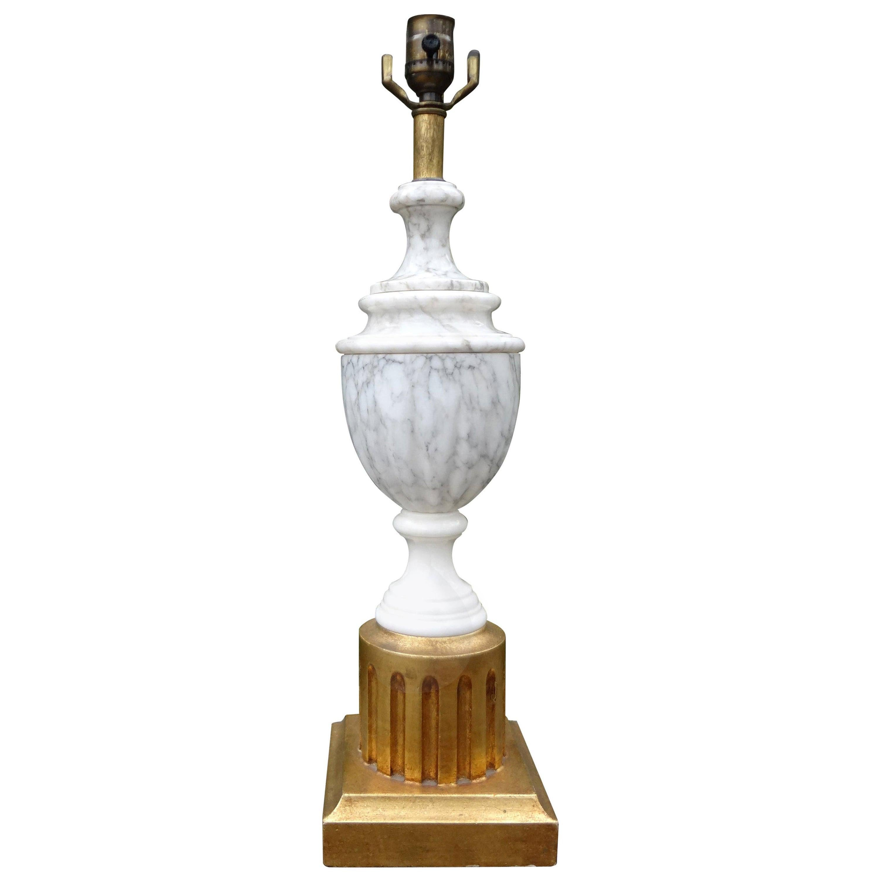 Hollywood Regency Italian Marble Lamp with Giltwood Base