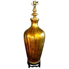 Hollywood Regency Italian Midcentury Gold Glass Lamp on Iron Base by Marbro