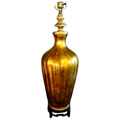 Hollywood Regency Italian Midcentury Gold Glass Lamp on Iron Base by Marbro
