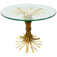 Hollywood Regency Italian Sheaf of Wheat Side Table