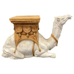 Hollywood Regency Italian Terracotta Camel Garden Stool Plant Stand or Seat