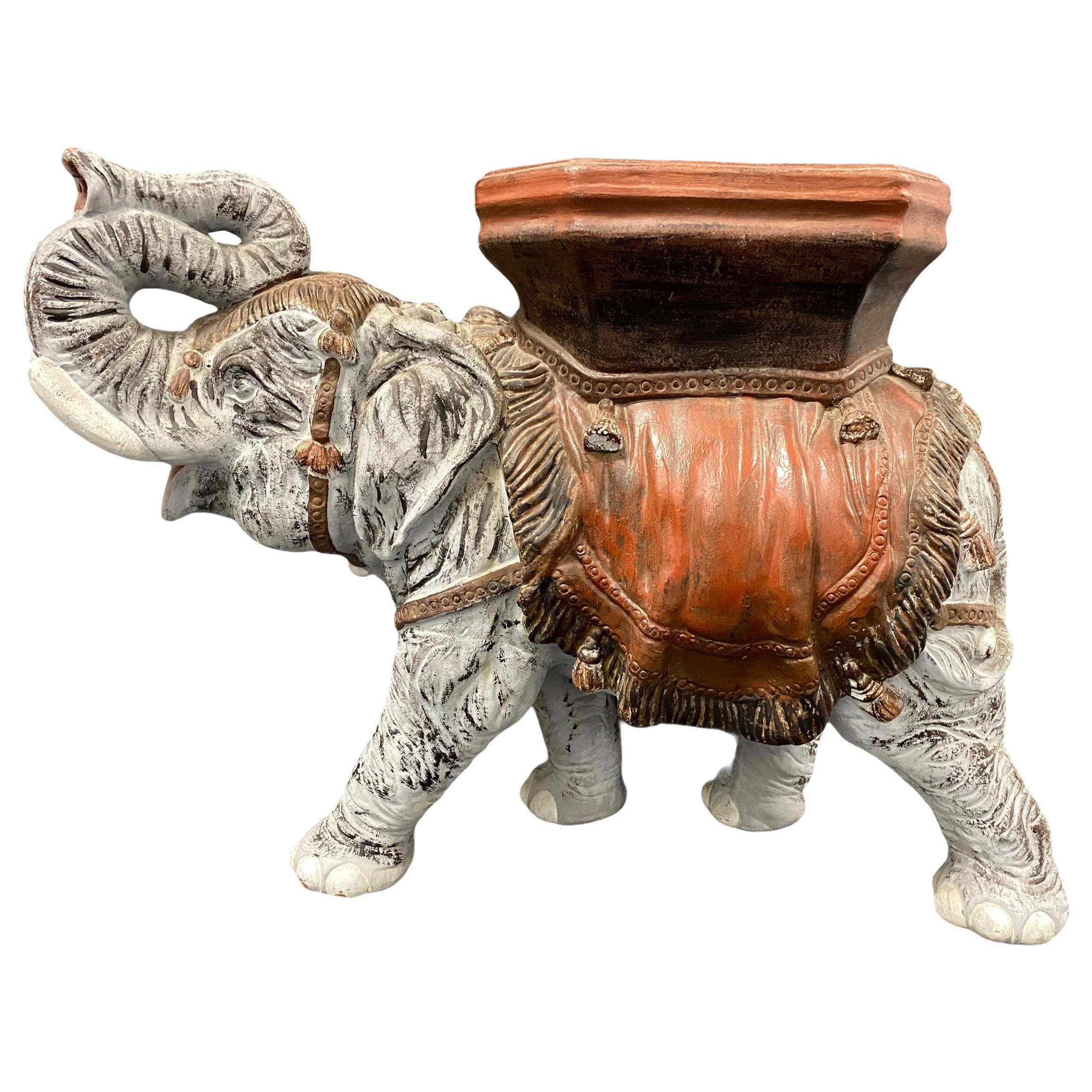 Hollywood Regency Italian Terracotta Elephant Garden Stool Plant Stand or Seat