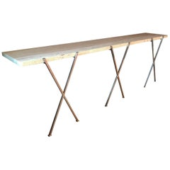 Hollywood Regency Italian Travertine Wall Mounted Floating Console or Hall Table