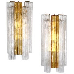 Hollywood Regency Italian Venini Tronchi Glass Sconce in Clear and Amber Glass