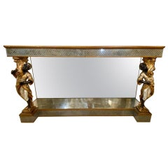 Hollywood Regency Jansen Figural & Églomisé Console Table, Sofa/Sideboard Table