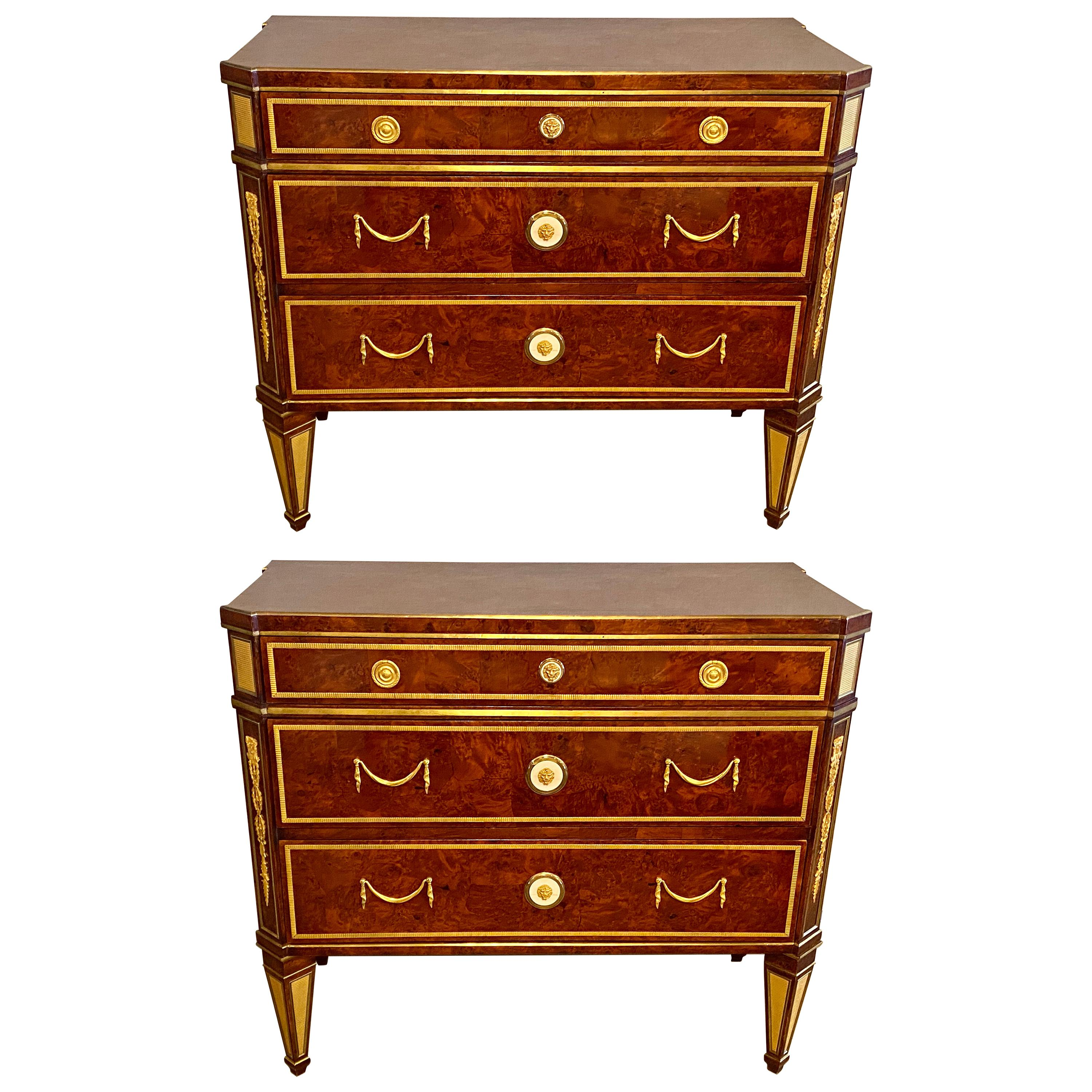 Pair of Hollywood Regency Jansen Style Chests or Commodes Tortoise Shell Finish