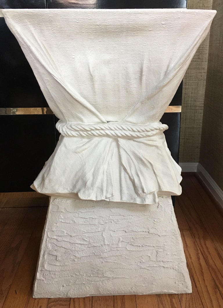 Hollywood Regency John Dickinson Style Draped Rope Side Table In Good Condition For Sale In Lambertville, NJ
