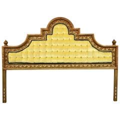 Hollywood Regency King Headboard Gilded Cast Aluminum & Yellow Velvet by Kessler