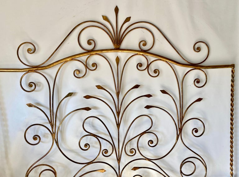 Add drama and elegance with this very unique one of a kind, gold gilt metal headboard for king size bed.