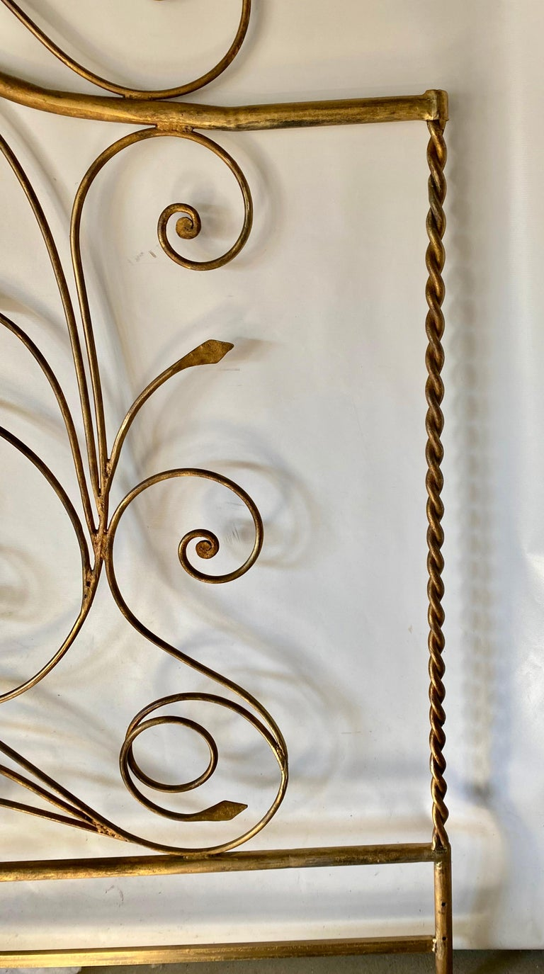 Hollywood Regency King Size Metal Headboard In Good Condition For Sale In Great Barrington, MA