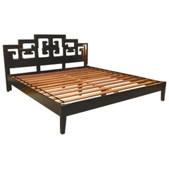 Hollywood Regency King-Size Platform Bed and Headboard by Century