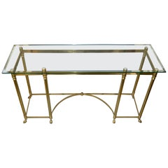 Hollywood Regency Labarge Brass and Beveled Glass Console, Sofa Table Hoof Feet