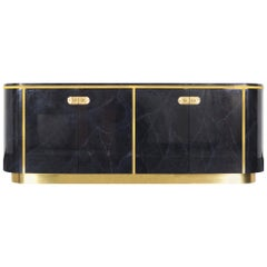 Hollywood Regency Lacquered and Brass Sideboard by Mastercraft