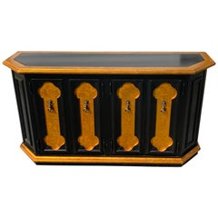 Hollywood Regency Lacquered Black and Gold Credenza/ Console