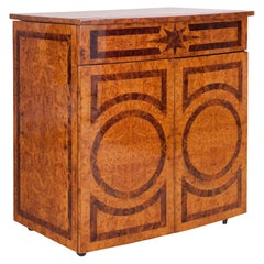 Hollywood Regency Lacquered Dry Bar Cabinet with Burl Inlay