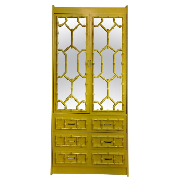 Hollywood Regency Lacquered Faux Bamboo Chinoiserie Mirrored Armoire Cabinet For Sale