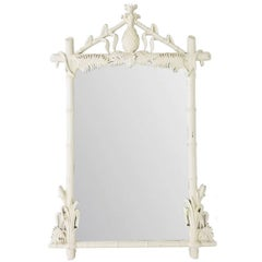 Hollywood Regency Lacquered Pineapple Faux Bamboo Wall Mirror by Gampel-Stoll