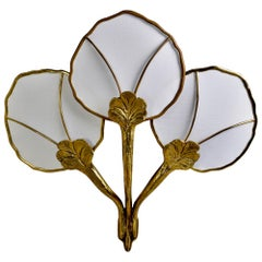 Hollywood Regency Large Brass Triple Light Water Lily Wall Sconce