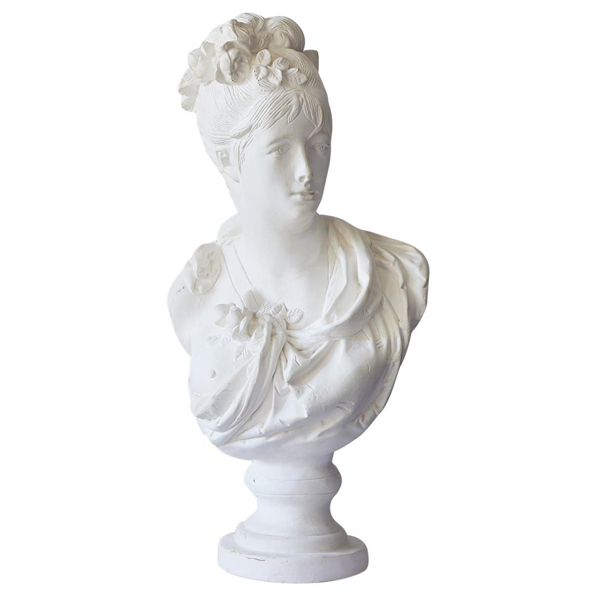 Hollywood Regency Large Plaster Bust