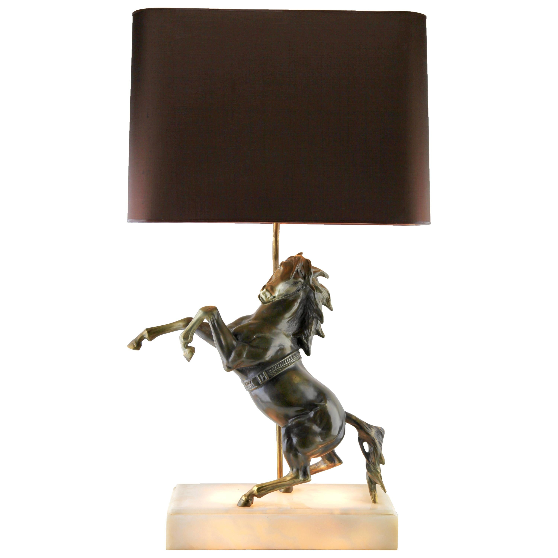 Hollywood Regency Large Table Lamp Spelter Sculptural with Albasta Base