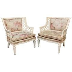 Hollywood Regency Lattice Club Chairs, a Pair