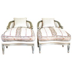 Hollywood Regency Louis XVI Chaise Lounges French Painted and Parcel Gilt Silver