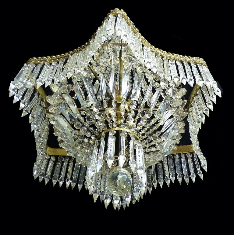 Neoclassical Hollywood Regency Louis XVI French Empire Cut Crystal Basket & Bronze Chandelier For Sale