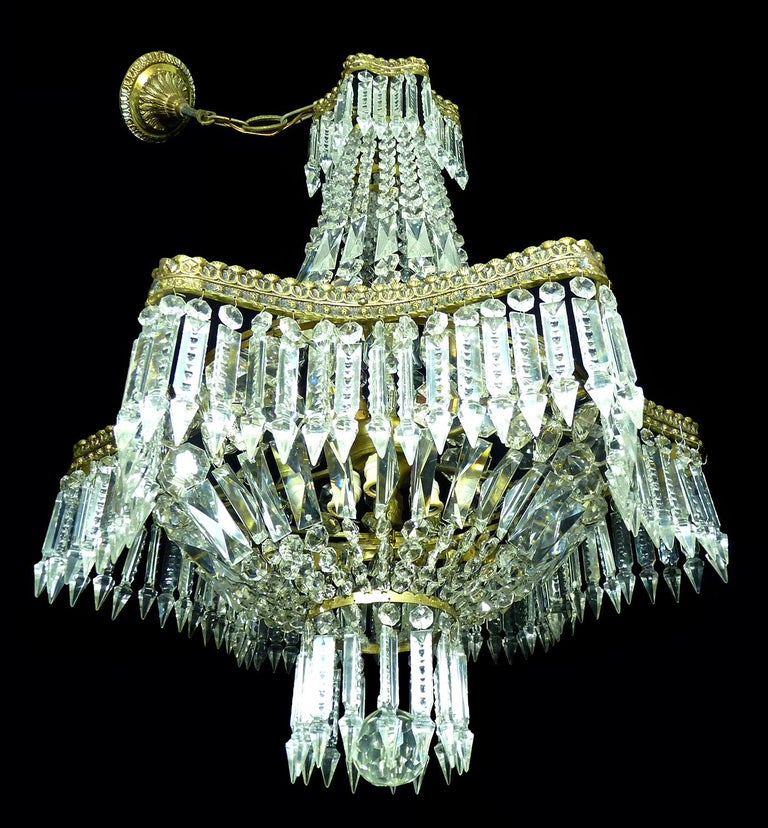 Gilt Hollywood Regency Louis XVI French Empire Cut Crystal Basket & Bronze Chandelier For Sale