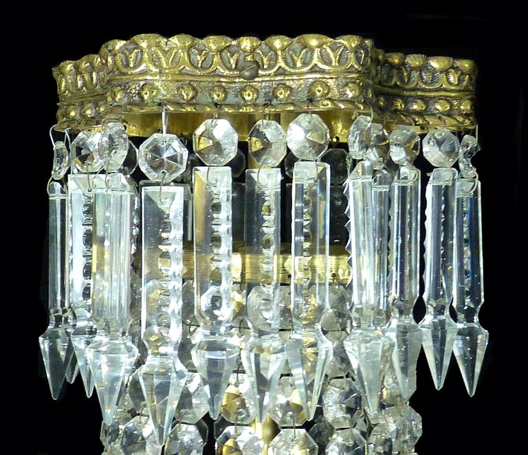 Hollywood Regency Louis XVI French Empire Cut Crystal Basket & Bronze Chandelier For Sale 1