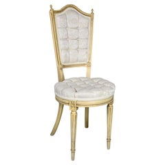 Hollywood Regency Louis XVI Style Antique White Dressing or Accent Chair