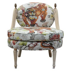 Hollywood Regency Lounge Chair with Natural Wood and Tiger Print Fabric