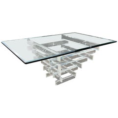 Lucite and Glass Dining Table attributed to Charles Hollis Jones