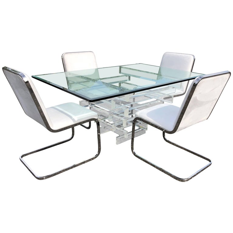 Hollywood Regency Lucite And Glass Dining Table With Four Chrome