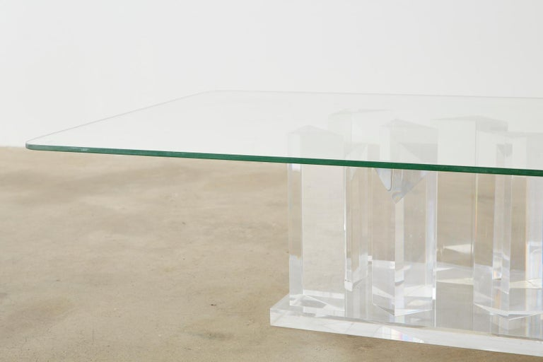 Hollywood Regency Lucite and Glass Stalagmite Cocktail Table For Sale 5