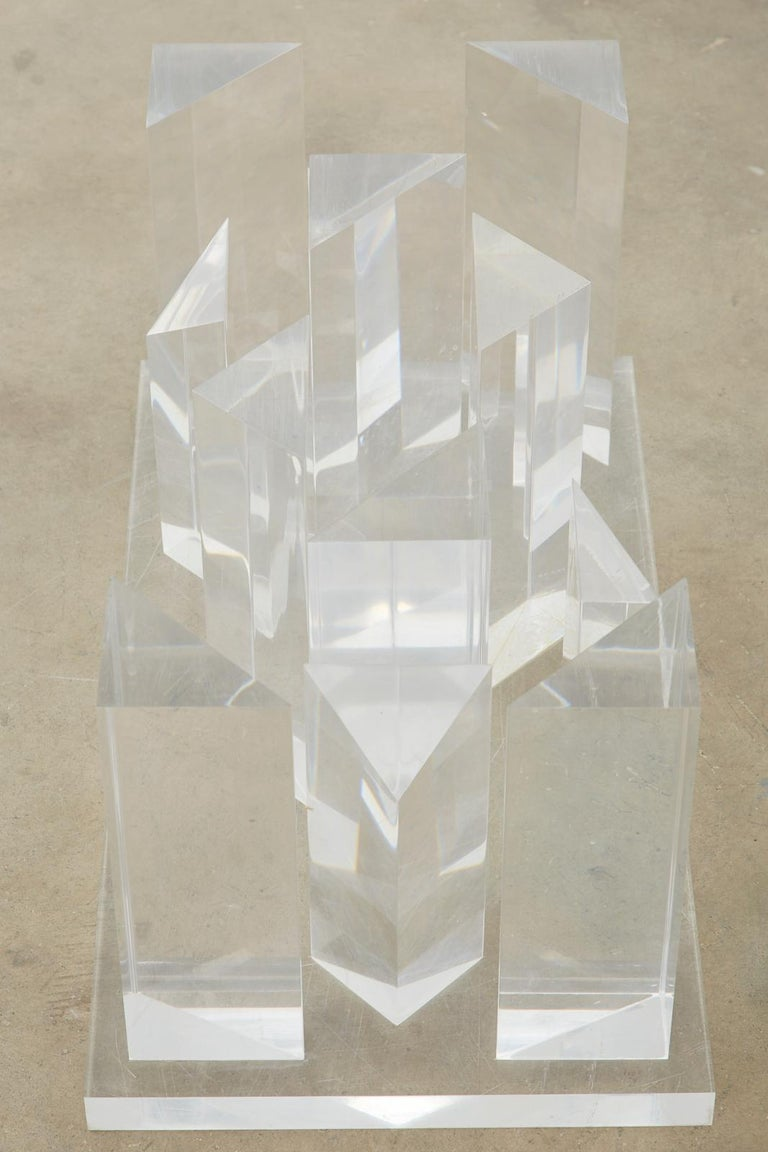 Hollywood Regency Lucite and Glass Stalagmite Cocktail Table For Sale 12