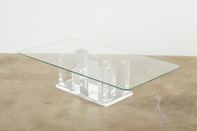 Hand-Crafted Hollywood Regency Lucite and Glass Stalagmite Cocktail Table For Sale