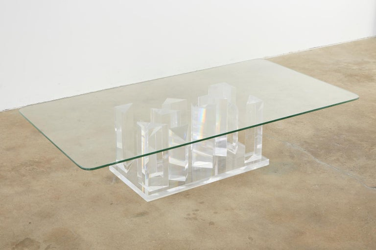 Hollywood Regency Lucite and Glass Stalagmite Cocktail Table For Sale 1