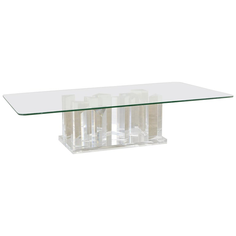 Hollywood Regency Lucite and Glass Stalagmite Cocktail Table For Sale