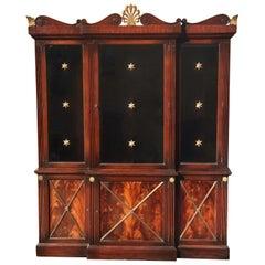 Hollywood Regency Mahogany Breakfront or Bookcase