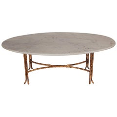 Hollywood Regency Maison Baguès Gold Gilded Bamboo & Marble Oval Cocktail Table