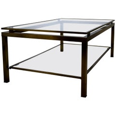 Hollywood Regency Maison Jansen Brass and Glass Two-Tier Coffee Table