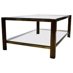 Hollywood Regency Maison Jansen Solid Brass Coffee Table