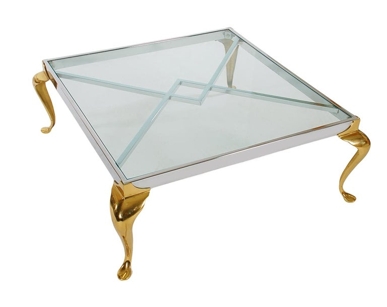Late 20th Century Hollywood Regency Maison Jansen Style Brass and Chrome Square Cocktail Table For Sale
