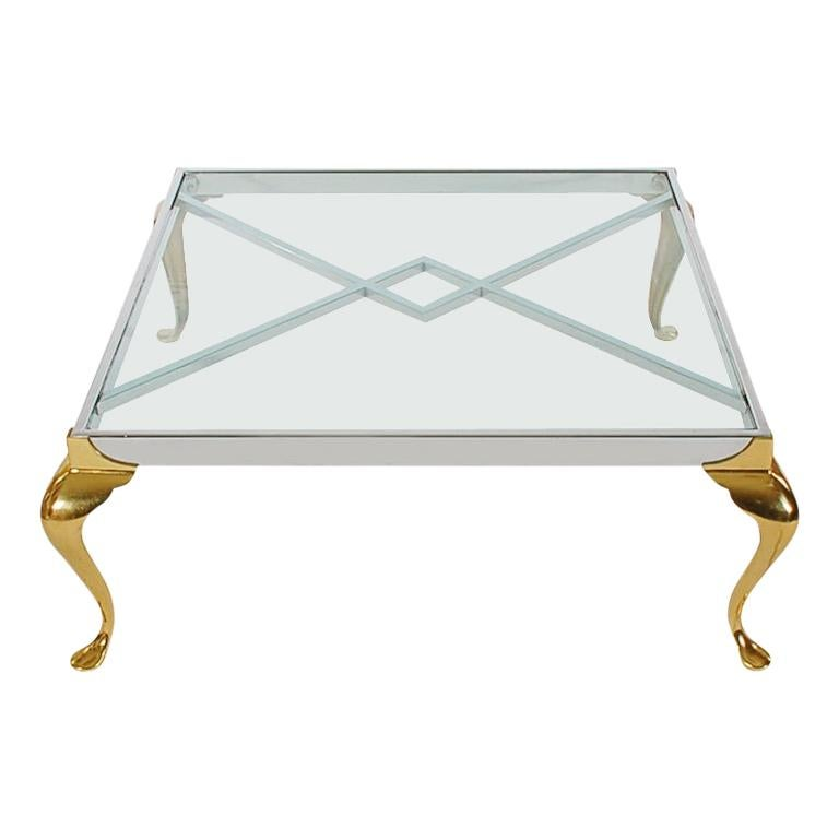 Hollywood Regency Maison Jansen Style Brass and Chrome Square Cocktail Table For Sale