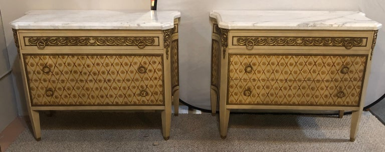Hollywood Regency Maison Jansen Style Bronze Mounted Commodes Chests Nightstands For Sale 2