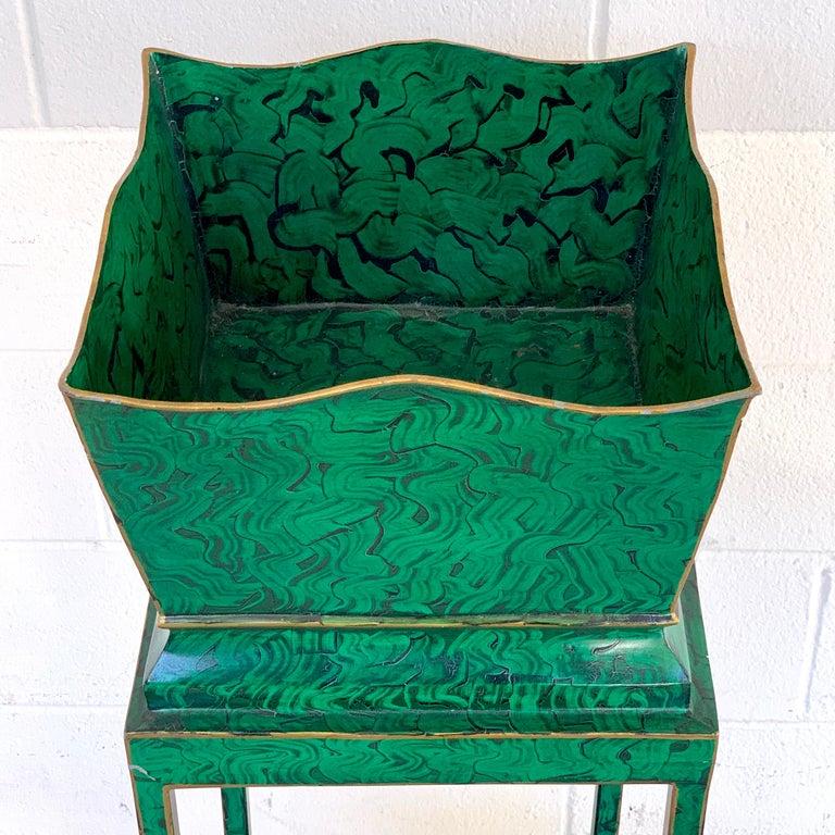 Hollywood Regency Malachite Tole Pedestal Jardinière  In Good Condition For Sale In Atlanta, GA
