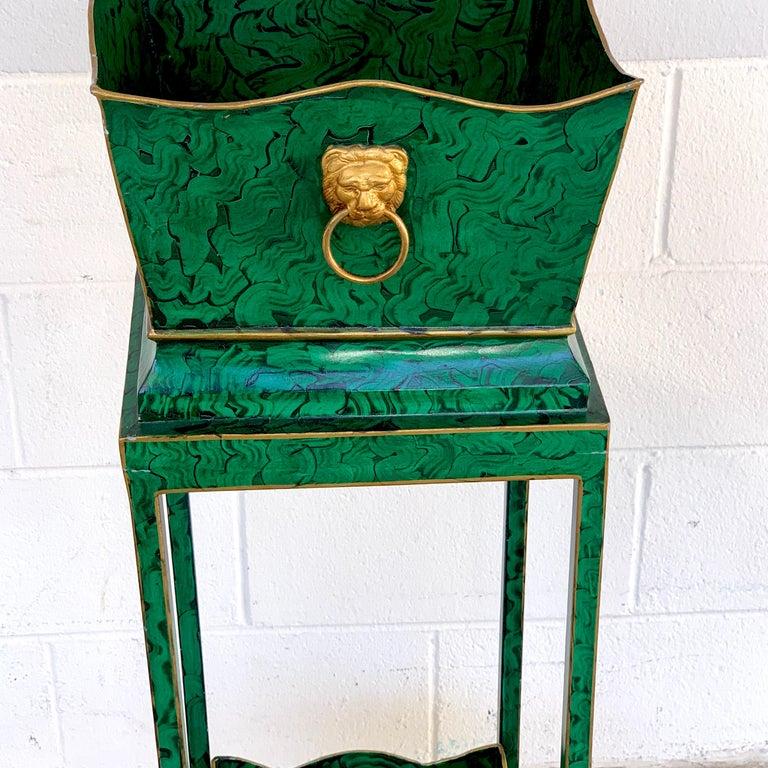 Hollywood Regency Malachite Tole Pedestal Jardinière  For Sale 1