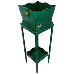 Hollywood Regency Malachite Tole Pedestal Jardinière