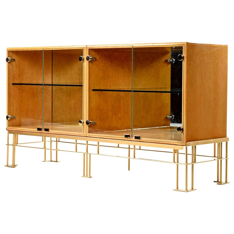 Hollywood Regency Maple Credenza with Custom Made Metal Base For Sale