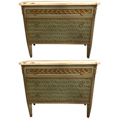 Hollywood Regency Marble-Top Commodes Chests Commode Nightstands Pair